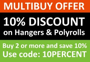 Save 10% when you buy 2 or more boxes of hangers or polyrolls.
